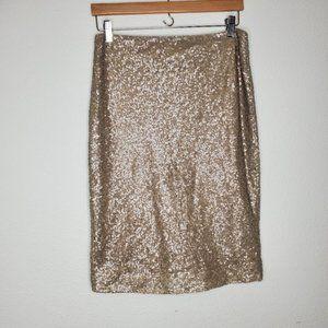 Lauren Ralph Lauren Gold Sequin Pencil Skirt